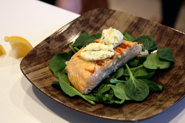 Grilled Salmon with Meyer Lemon Compound Butter