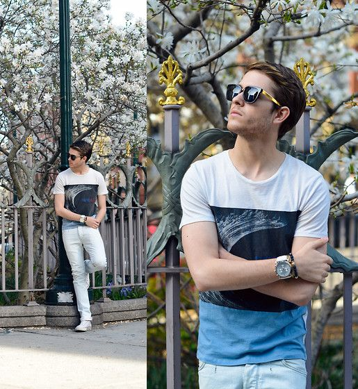 Similar Here  > Super Sunglasses, All Saints Graphic Tee, You Might Like This One  > Watch, Zara Blue White Jeans, Converse High Tops