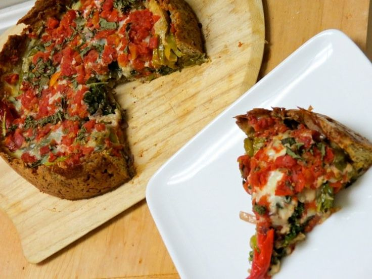 Low Carb Deep Dish Veggie PIZZA | Recipes | Pinterest