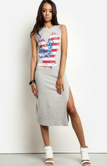 Patriotic eagle midi dress