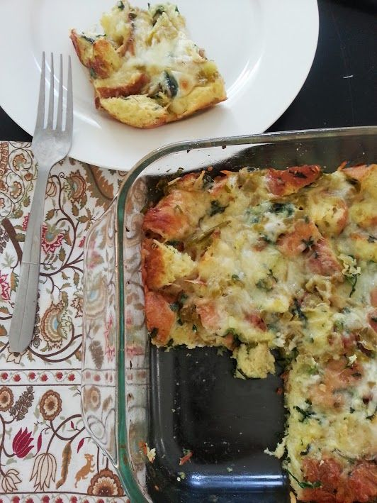 spinach strata | What's for Breakfast? | Pinterest