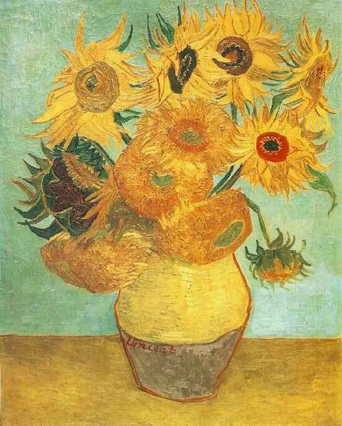 Vase with twelve sunflowers * Künstler: Vincent van Gogh * Technik: Öl auf Leinwand * Maße: 91 x 72 cm * Museum: Philadelphia Museum of Art * Ort: Philadelphia, USA