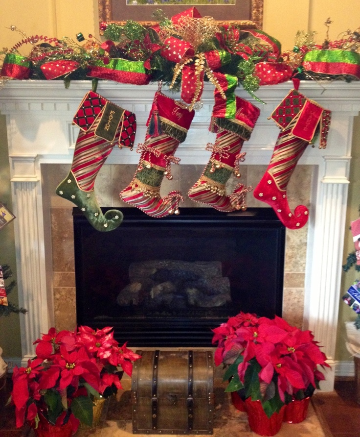 Christmas mantel with stockings mantel ideas pinterest for Decor 77005