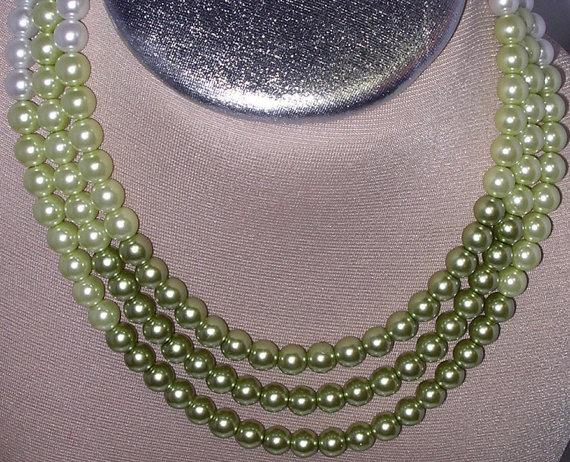 Shades of Pistachio color pearls three strand choker by SHRISHTI, $60.00