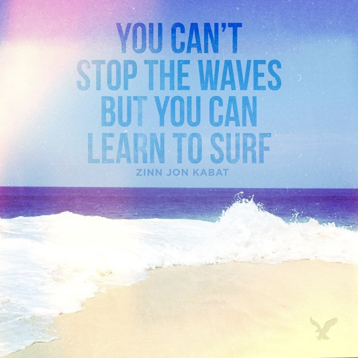 """You can't stop the waves but you can learn to surf."""