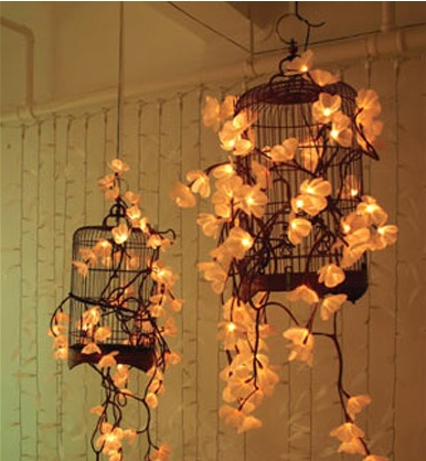 Ideia de decoração com Gaiolas e Luzinhas