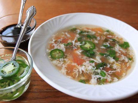 Chef Vinod's Tomato Egg Drop Soup | soups | Pinterest