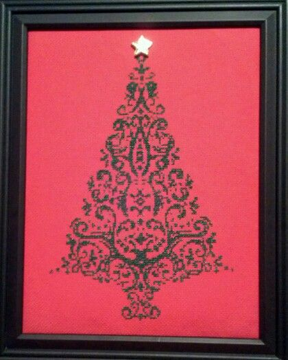 Cross stitch metallic christmas tree made by Tawny Smith