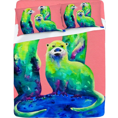 Clara Nilles Margarita Otters On Fresh Melon Sheet Set