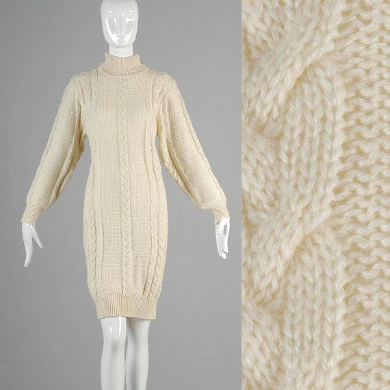 Vintage 80s cream cable knit long sleeve turtle by styleandsalvage