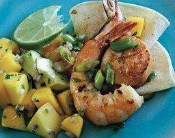 Shrimp with Avocado Mango Salsa - mango, red onion, mint, lime juice ...