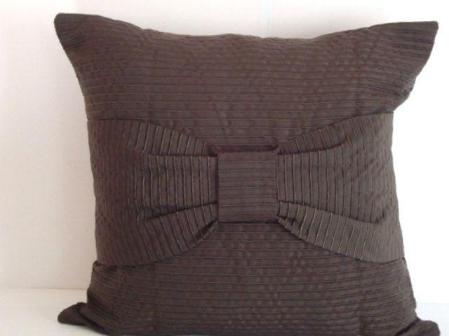 Dark Brown Decorative Pillow : French bow ? Dark brown throw decorative pillow ? Cafe noir cushion c?