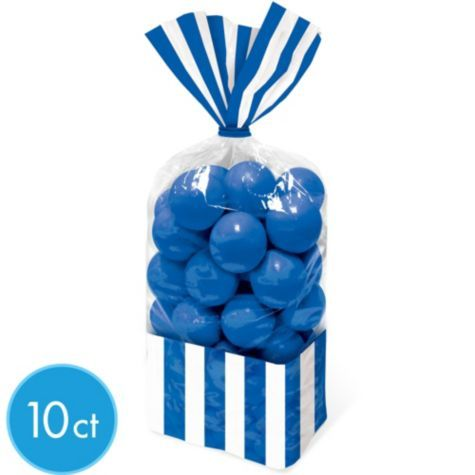 Royal Blue Striped Treat Bags 10ct - Party City