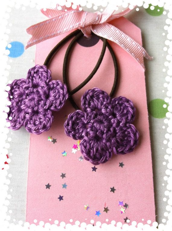 Crochet Flower hair ties hair bands by dollydoulton75 on Etsy, ?3.50