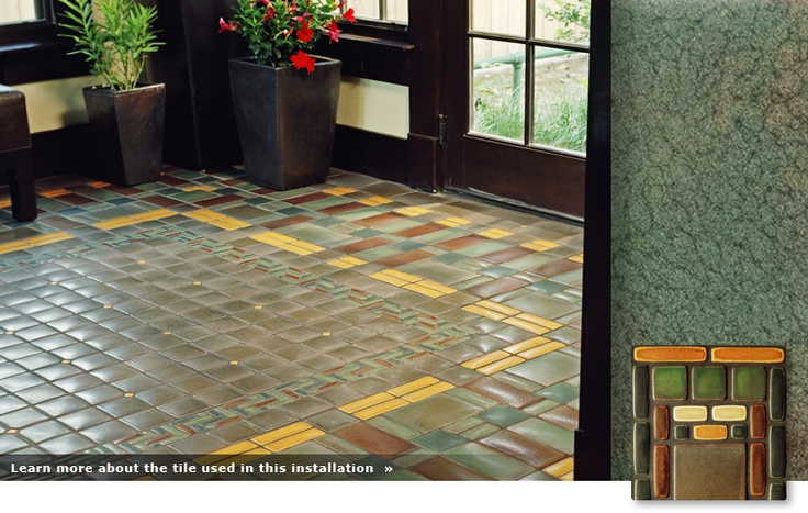 Mission patterned tile floor my arts and crafts cottagy for Arts and crafts floor tile
