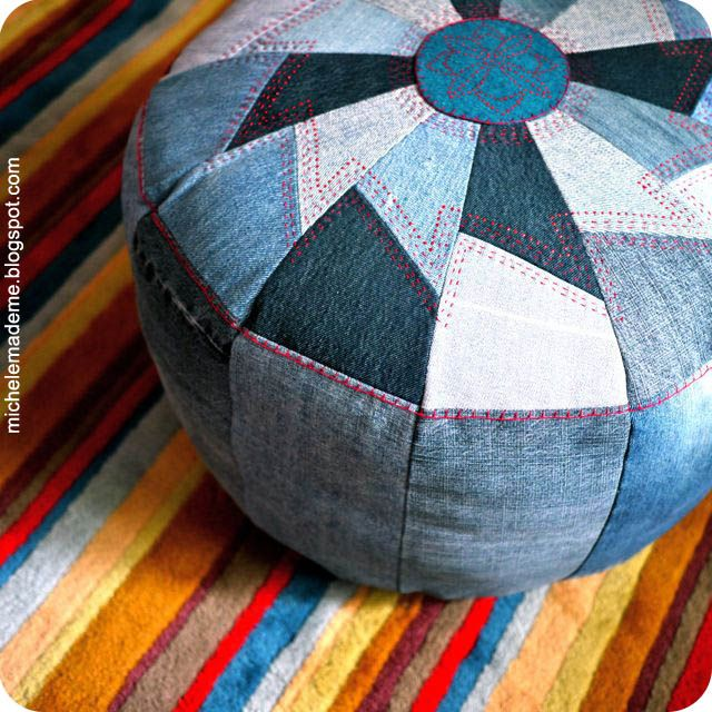 Denim Pouf tutorial. The only thing I'd change would be to put a zipper on the bottom, bisecting it. That way the cover could be removed and washed. Otherwise this is perfect.
