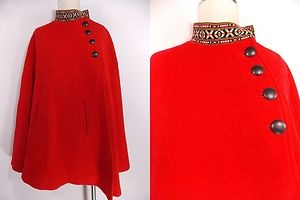 VINTAGE 60s Red Wool Cape Jacket Shawl Arm Slots Pockets Ethnic Swing Coat Aztec