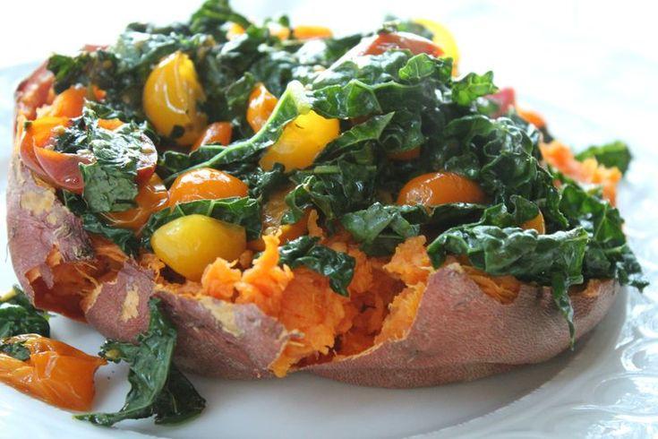 medium size sweet potato/yam, 4-6 leaves lacinto (dinosaur) kale ...