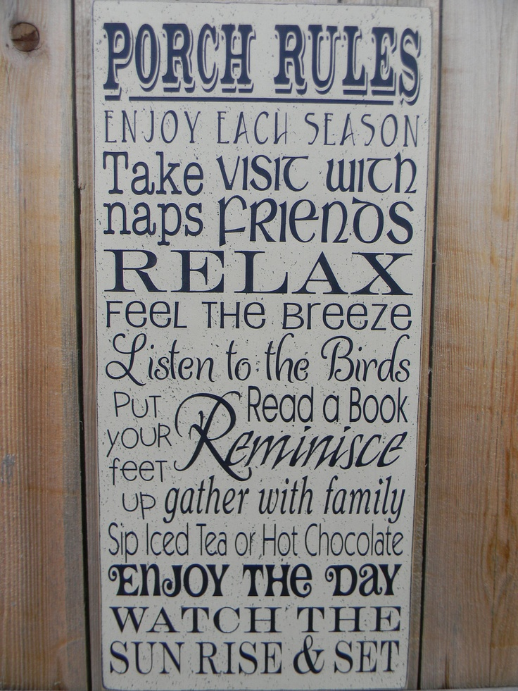 PORCH RULES typography subway large wood sign. $39.00, via Etsy.