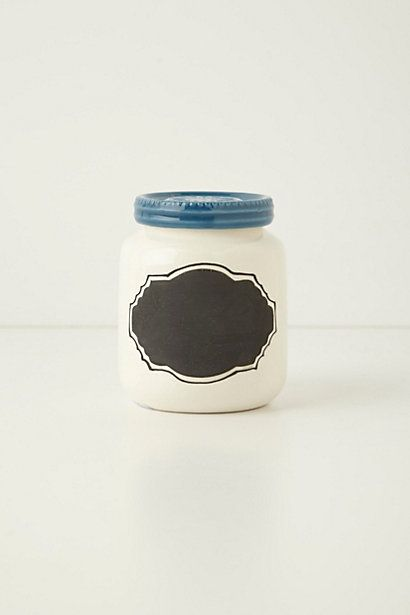 spray paint jar white, lid blue and add a chalkboard label