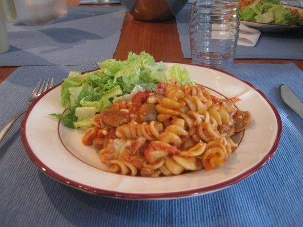 Rigatoni and Sausage (use gluten free pasta, sauce & sausage)