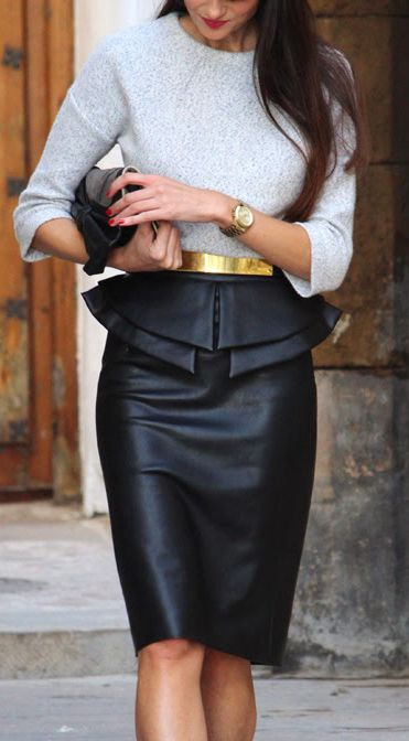 Leather skirt, Gold belt, Grey sweater by Outfit Ideas