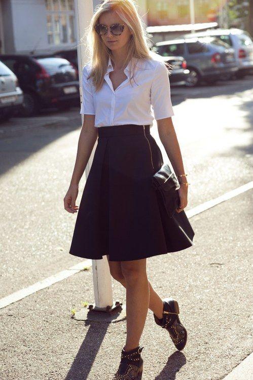 White Shirt Black A Line Skirt Threads Pinterest