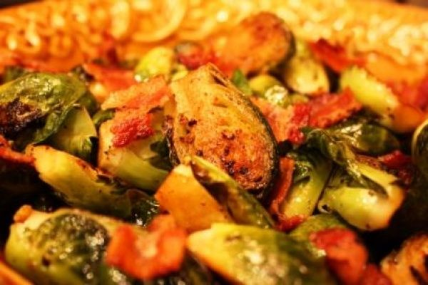 Brussels Sprouts sauteed with shallots in bacon butter, then braised ...
