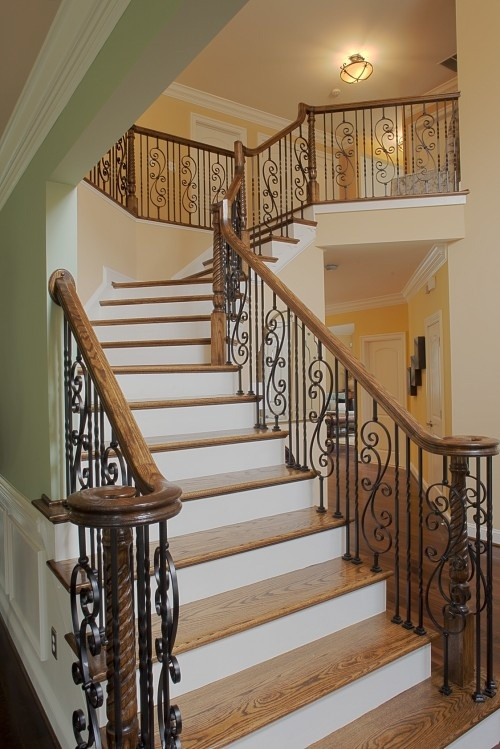 Best Iron Stair Rails With Wood Banister Staircase Railings 640 x 480