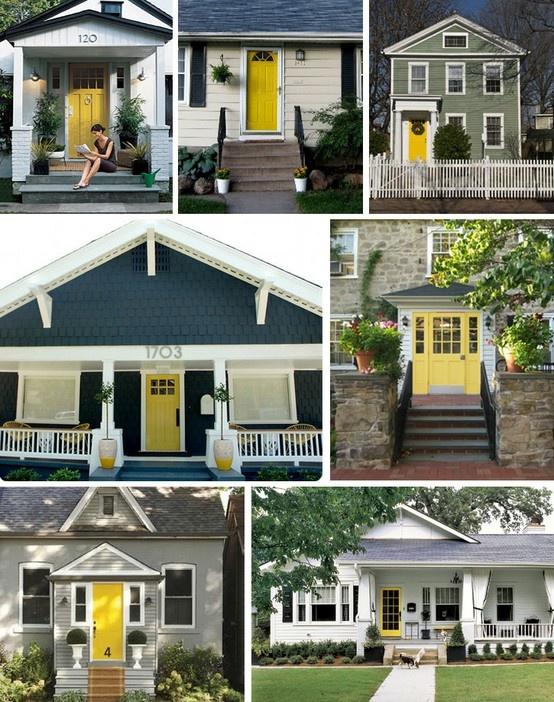 Yellow doors house remodeling ideas pinterest for Front door yellow house