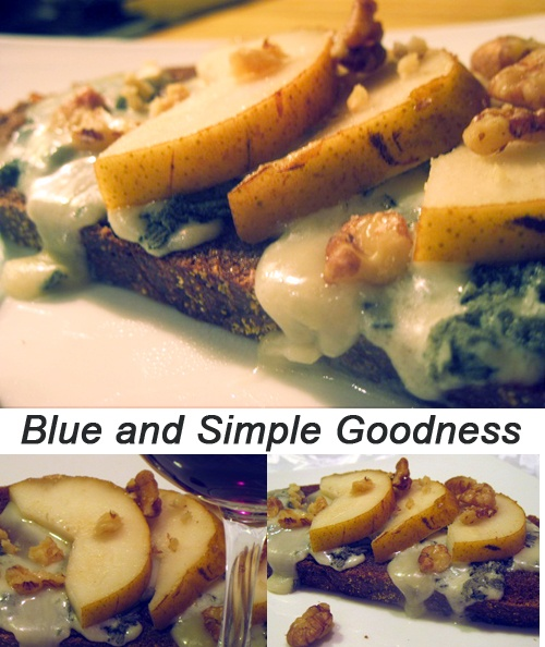 : Warm Pumpernickle Toast with Honey, Creamy Gorgonzola, Sliced Pears ...