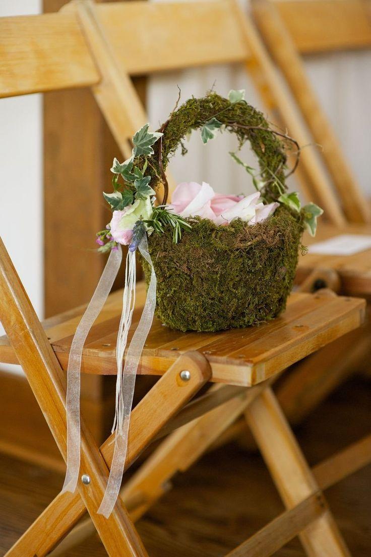 Flower Girl Basket Moss : Moss flower girl basket wedding wonderland
