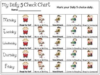 I will be using these along with my Daily 5 choice cards. Students can check off each Daily they go to in order to keep track each week. The clipar...