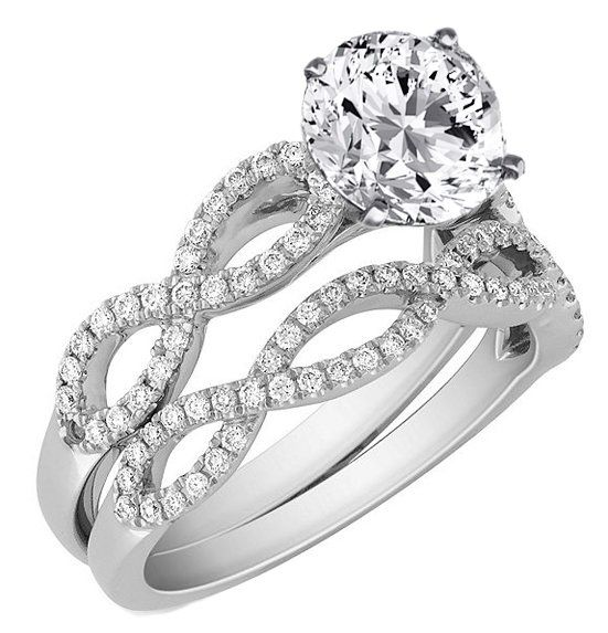 Infinity Bridal Set: Engagement Ring  Matching Wedding Ring