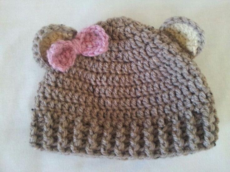 Teddy bear ears crochet hat Crochet Pinterest