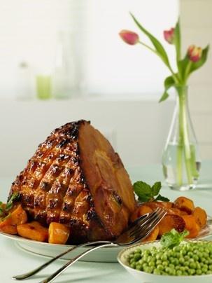 Baked Ham with Ginger Mango Glaze and Roasted Sweet Potatoes ...