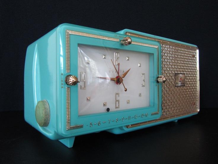 Vintage 1953 old bulova solid blue mid century retro ...