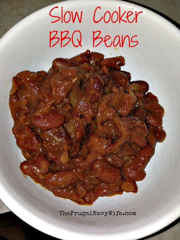 Slow Cooker BBQ Beans w/ #slowcooker #BBQ #beans