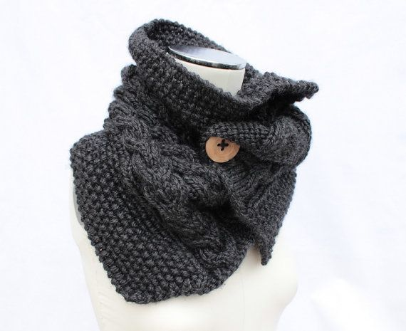 Knitted Cowl Pattern With Buttons : Charcoal Chunky Cowl, Knitted Button Cowl, Gray Neck Warmer, Chunky K?