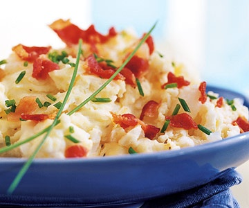 Heavenly Mashed Potatoes with bacon and chives...yes, yes, yes ...