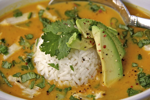 Curried Coconut Pumpkin (or squash) soup with rice. It includes ...