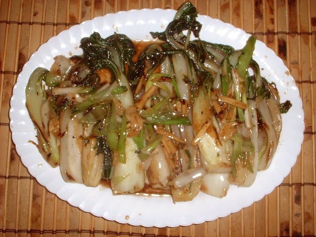 Stir-Fried Bok Choy with Garlic, Ginger and Scallions from Fine Cooki ...