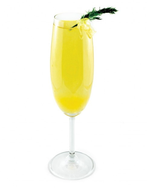 Peach Bellini: peach purée, dry Prosecco and triple sec.