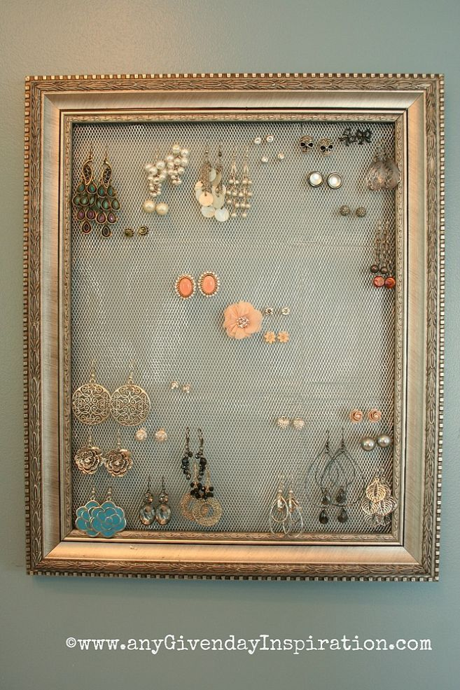 DIY Earring Holder/Display (this one is mounted on the wall with ...