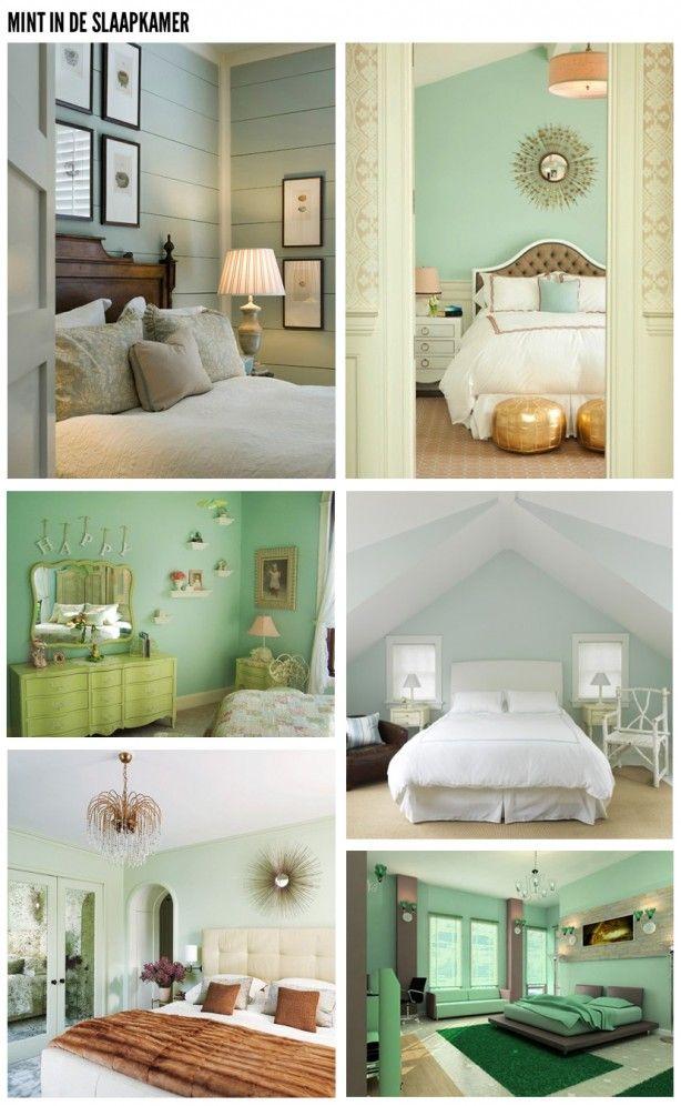 Groen Mint Slaapkamer  Huis en tuin  Pinterest