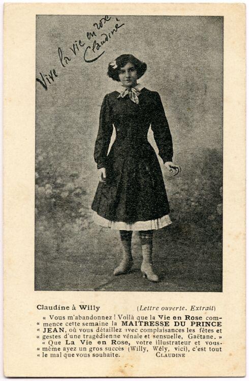 Carte publicitaire annonçant le début de la publication de La Maîtresse du Prince Jean, de Willy, dans La Vie en Rose [N° 57 du 16 novembre 1902]