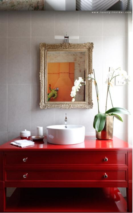 Red cabinet  Bathroom  Pinterest