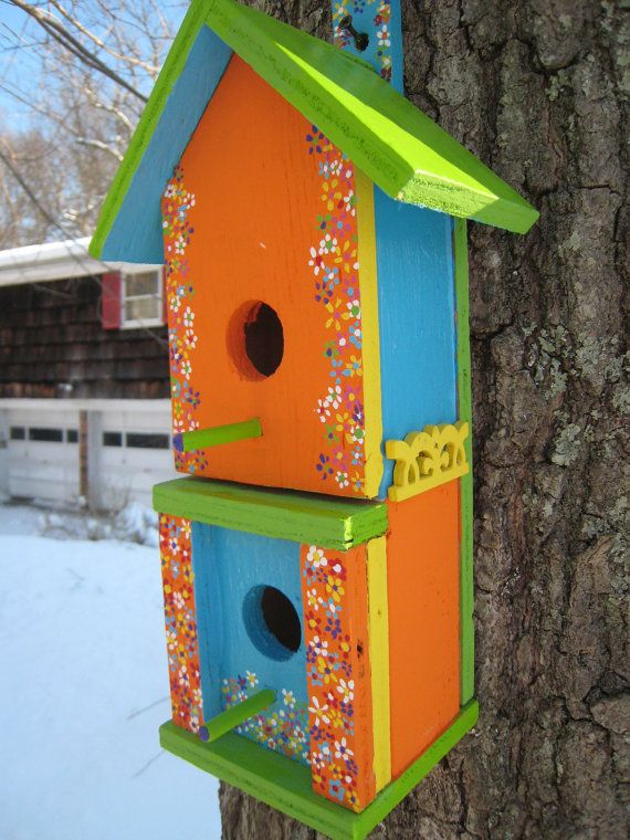 Birdhouse Outdoor Painted Whimsical Handmade Two-Story Wooden Birdhou ...