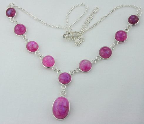 $20 Starting Bid: Ruby Color Moonstone Necklace in 925 Silver http://www.outbid.com/auctions/1531#18