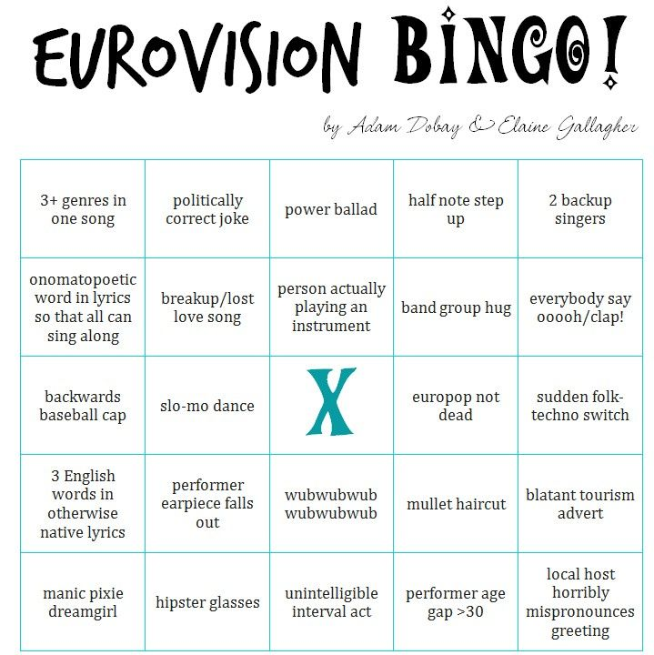 ... year again… EUROVISION BINGO! (works for both semifinals and finals